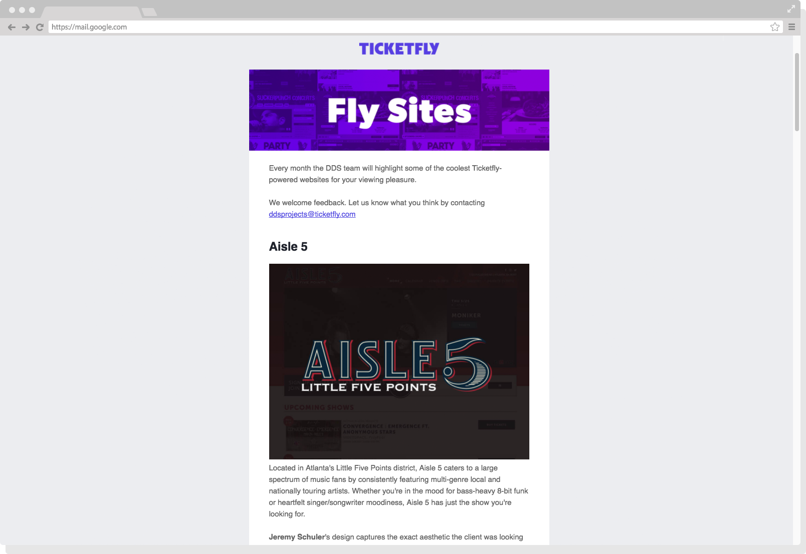 Schuler - Ticketfly - Press - Fly Sites - Aisle 5