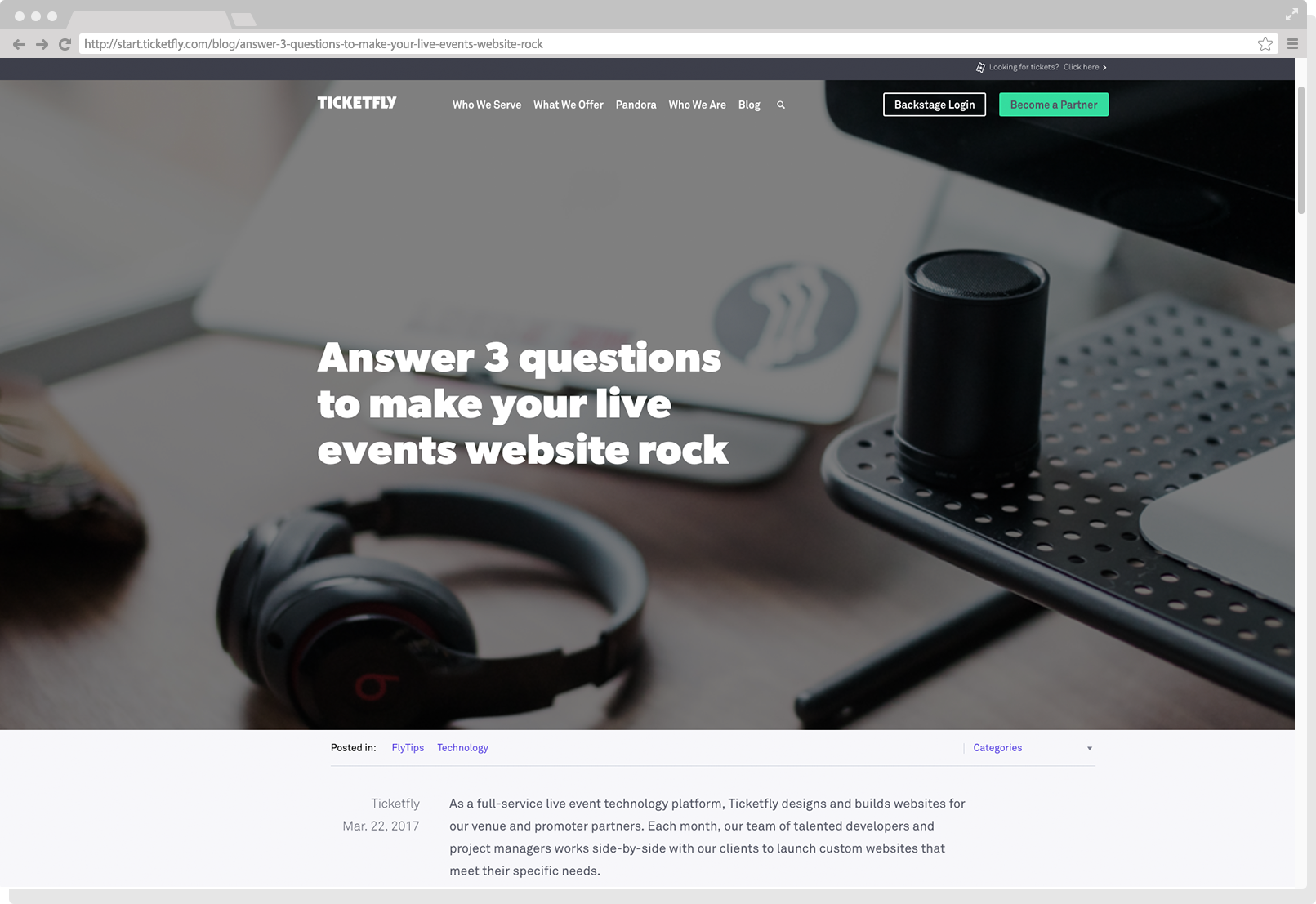 Schuler - Ticketfly - Press - Blog - March 17 - Answer 3 questions to make your live events website rock
