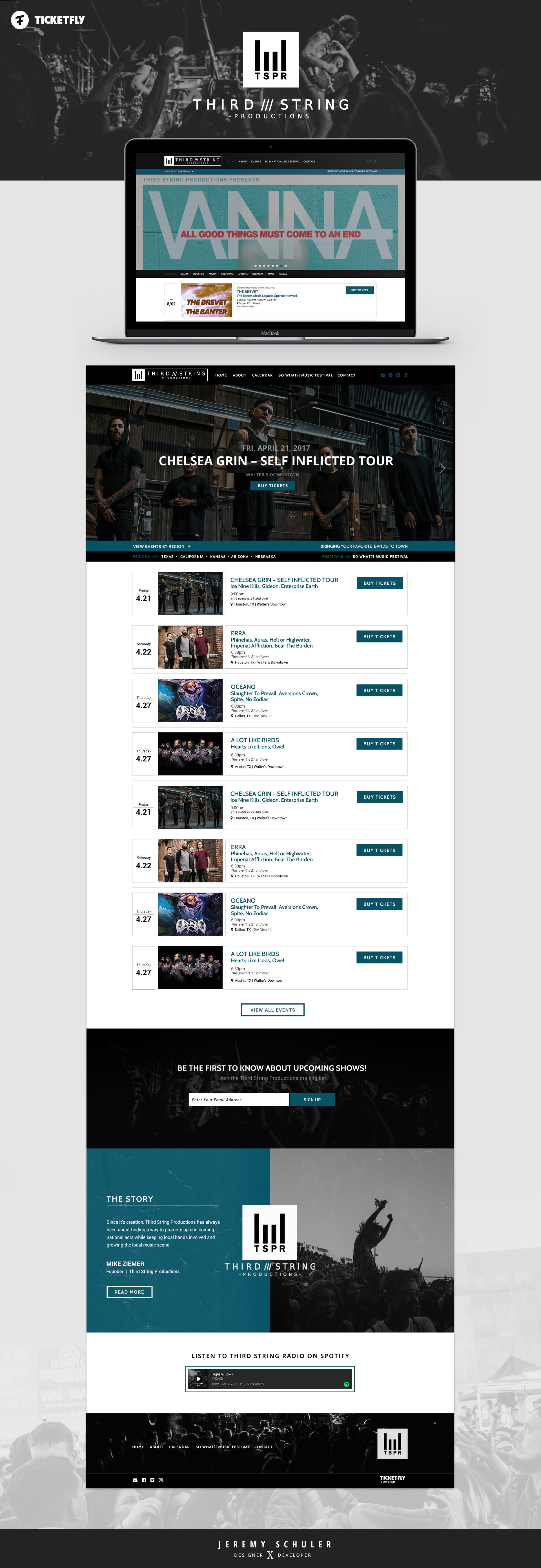 Schuler - Portfolio - Web Design - Third String Productions - Music Promoter - WordPress - Ticketfly Live Events Platform