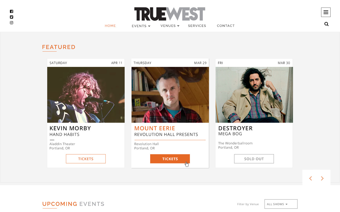 Jeremy Schuler - Web Design - True West Presents - 2018