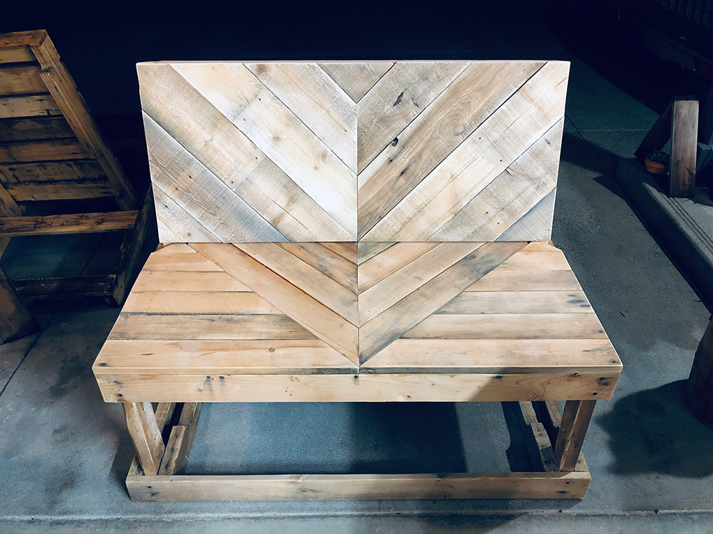 Schuler - Woodworking - Upcycled Chevron Pallet Bench