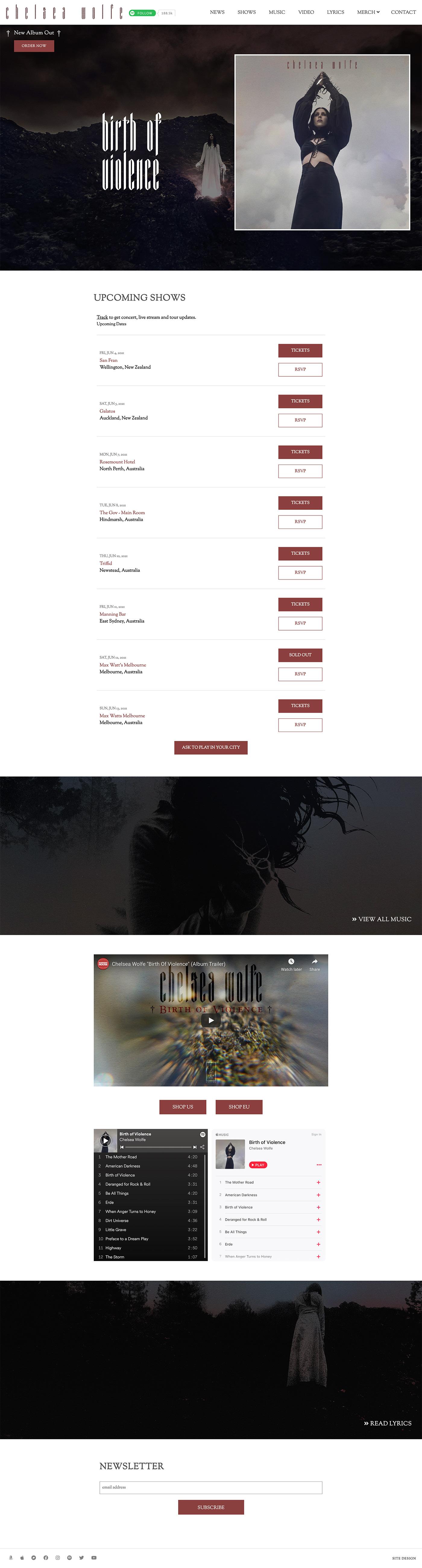 Jeremy Schuler - Web Design - Chelsea Wolfe - 2019